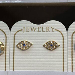 New 14k Solid Real Gold Evil Eye Stud Earrings